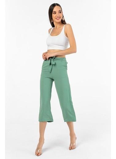 Tiffany&Tomato Beli Kuşaklı Bol Paça Aerobin Midi Pantolon Yeşil